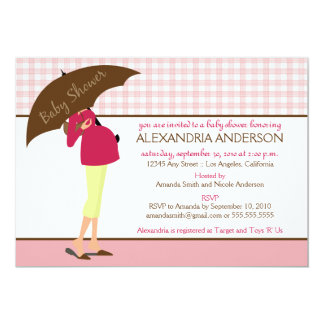Umbrella Mommy Gingham Baby Shower Invite (pink)