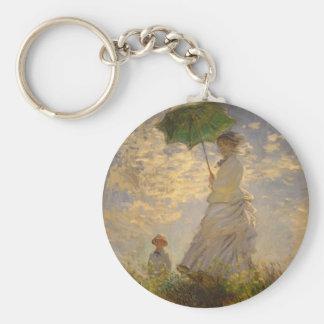 Umbrella Monet Painting Basic Round Button Keychain