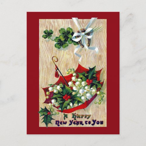 Umbrella of Flowers Vintage New Year Holiday Postcard