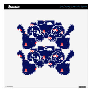 Umbrella pattern vintage and playful PS3 controller skins