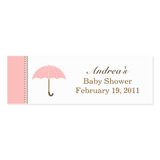 Umbrella Pink Small Tag Double-Sided Mini Business Cards (Pack Of 20)
