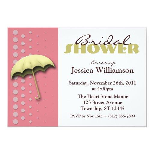 Umbrella Pink & Yellow Bridal Shower Invitations