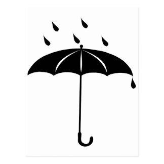 Umbrella - Rain Drops Raining Postcards