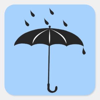 Umbrella - Rain Drops Raining Square Sticker