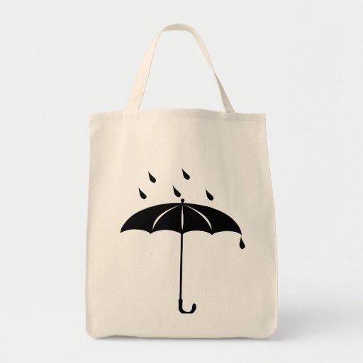 Umbrella - Rain Drops Raining Tote Bags