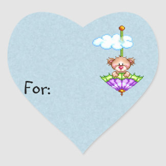 Umbrella Riding Bear Pixel Art Heart Sticker
