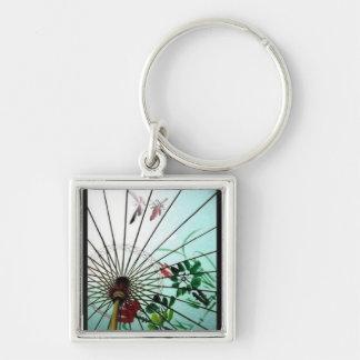 Umbrella Silver-Colored Square Keychain