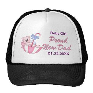 Umbrella Teddy Bear - New Dad of Girl - Customize Trucker Hat