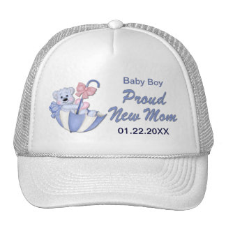 Umbrella Teddy Bear - New Mom of Boy - Customize Trucker Hat