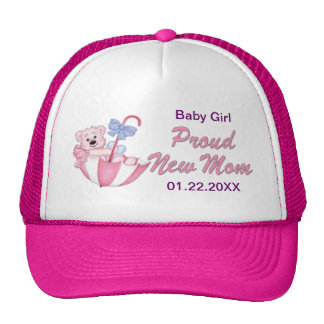 Umbrella Teddy Bear - New Mom of Girl - Customize Trucker Hat