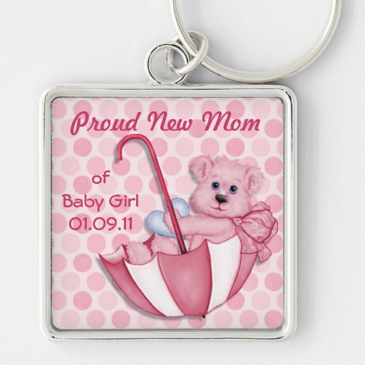Umbrella Teddy Bear - New Mom of Girl - Customize Silver-Colored Square Keychain