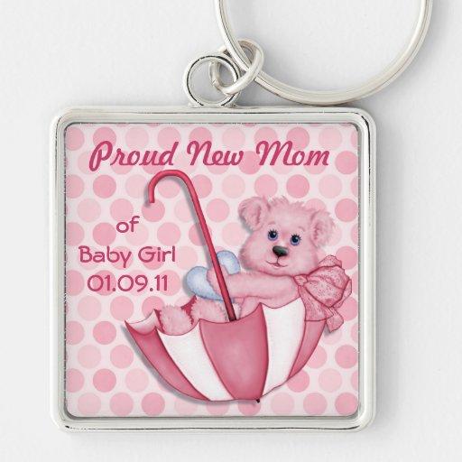 Umbrella Teddy Bear - New Mom of Girl - Customize Keychain