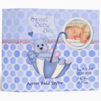Umbrella Teddy Polka Dot Photo Album for Baby Boy 3 Ring Binder