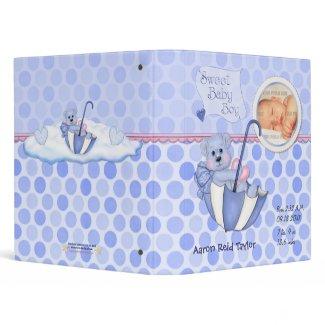 Umbrella Teddy Polka Dot Photo Album for Baby Boy 3 Ring Binders