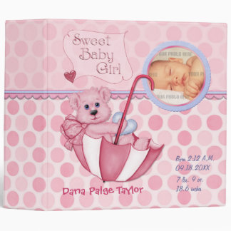 Umbrella Teddy Polka Dot Photo Album for Baby Girl 3 Ring Binder