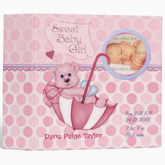 Umbrella Teddy Polka Dot Photo Album for Baby Girl 3 Ring Binder