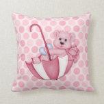 Umbrella Teddy Polka Dots Pink Keepsake Pillow