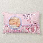 Umbrella Teddy Polka Dots Pink Photo Pillow