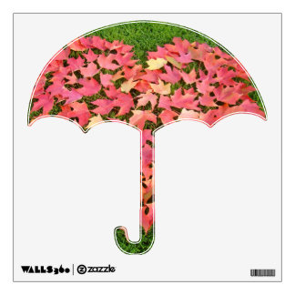 Umbrella wall decal Green Grass Red Autumn Leaves