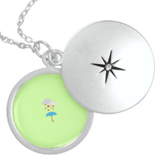 Umbrella with hearts round locket necklace