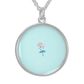 Umbrella with hearts round pendant necklace