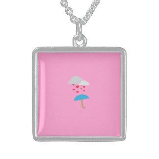 Umbrella with hearts square pendant necklace