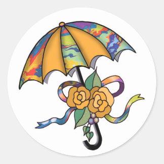 Umbrella with Roses 01 Classic Round Sticker