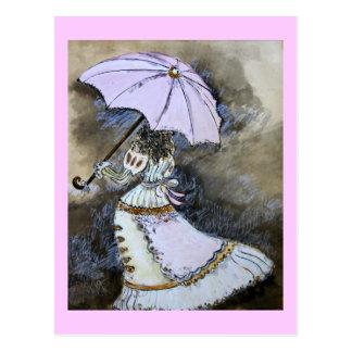 Umbrella woman postcard
