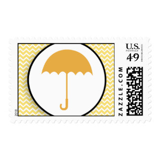 Umbrella & Yellow Chevron Baby/Bridal Shower Stamp