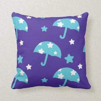 Umbrellas and Raining Stars Throw Pillow