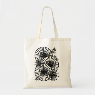 umbrellas butterflies flowers budget tote bag