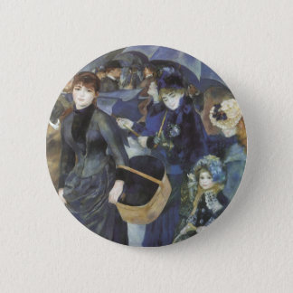 Umbrellas by Pierre Renoir, Vintage Impressionism Pinback Button