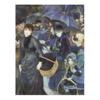 Umbrellas by Renoir, Vintage Impressionism Art Postcard