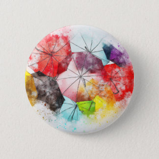 Umbrellas  Colorful Abstract Pinback Button