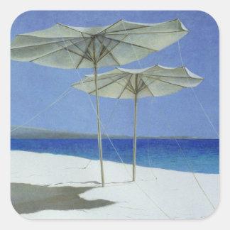 Umbrellas Greece 1995 Square Sticker