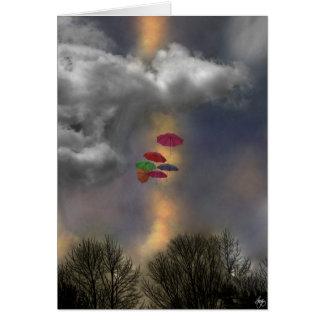Umbrellas in a Cloudscape Card
