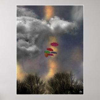 Umbrellas in a Cloudscape Poster