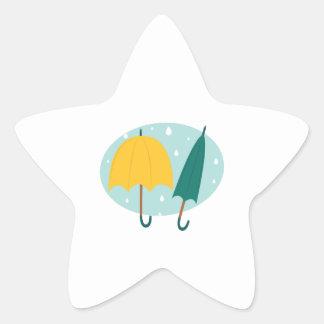 Umbrellas in Oval Star Sticker