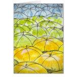 umbrellas in springtime card