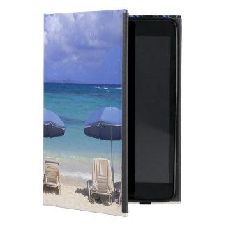 umbrellas on beach, St. Maarten, Caribbean Covers For iPad Mini