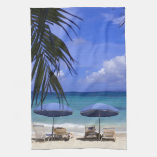 umbrellas on beach, St. Maarten, Caribbean Kitchen Towel