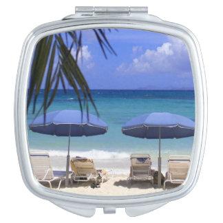 umbrellas on beach, St. Maarten, Caribbean Makeup Mirror