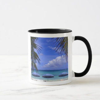 umbrellas on beach, St. Maarten, Caribbean Mug