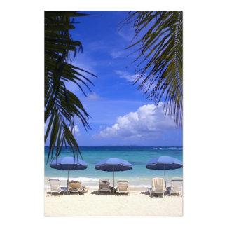 umbrellas on beach, St. Maarten, Caribbean Photo Print