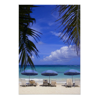umbrellas on beach, St. Maarten, Caribbean Poster