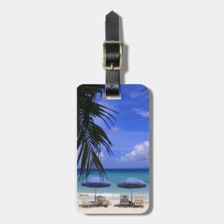 umbrellas on beach, St. Maarten, Caribbean Tag For Luggage
