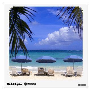 umbrellas on beach, St. Maarten, Caribbean Wall Sticker