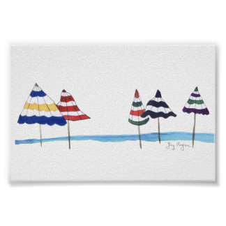Umbrellas on the Beach Posters & Prints