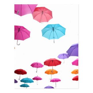 Umbrellas  pattern design postcard
