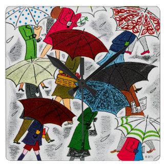 Umbrellas Square Wall Clock